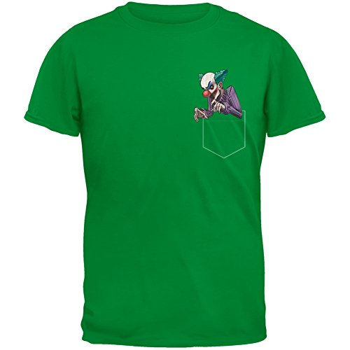 Old Glory Faux Pocket Halloween Horror Scary Clown Irish Green Adult T-Shirt - (Green Clown Outfit)