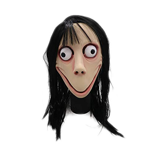 YF Halloween Wigs Horror Mask Scary Latex Full Head Mask Halloween Cosplay Party Costume Props Latex Luminous Alien Head Mask Made from Natural Latex MOMO MASK