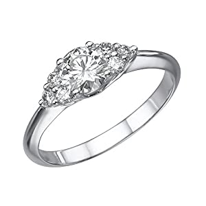 GIA Certified 14k white-gold Round Cut Diamond Engagement Ring (0.57 cttw, H Color, VS2 Clarity)