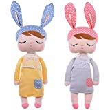 Metoo Dolls Plush Bunny Rabbit Soft Toys Sleeping Angela Doll for Baby Toddler 13 Inches (pack of 2)