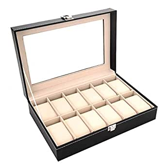 Other 12 Grid Leather Watch Display Case Jewelry Collection Storage Organizer Box Holder