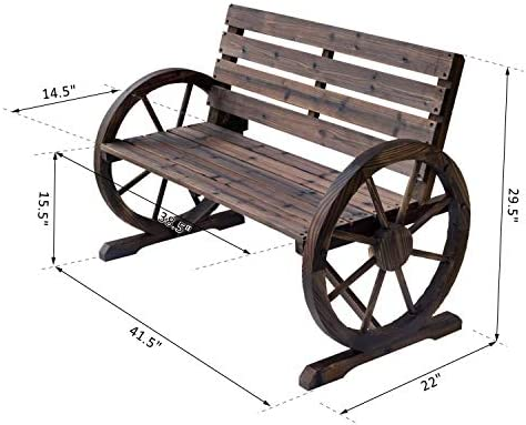 MB-THISTAR Wagon Wheel Bench Garden Chair Loveseat Wooden Accent Outdoor Garden