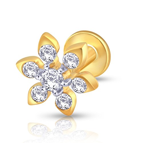 KuberBox 14k Yellow Gold Diamond Nose Pin