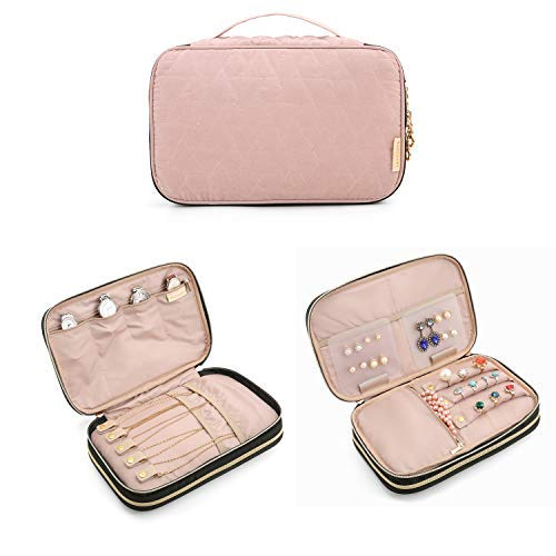 BAGSMART Double Layer Travel Jewelry Organizer Jewelry Storage Carrying Cases for Earrings, Necklaces, Rings, Pink