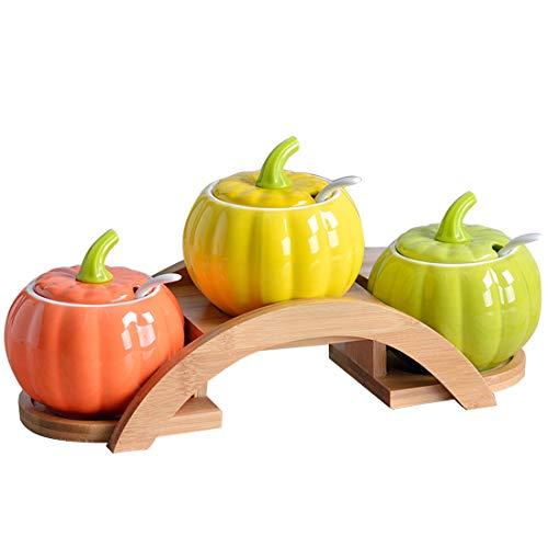 - Cool Lemon Nordic Style Pumpkin Set of 3 Ceramic Food Storage Porcelain Condiment Container Spice Jar With Lids Spoon, Wooden Tray Pottery Cruet Pot,Seasoning, Sugar, Coffee, Salt
