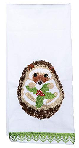 (Dennis East Hedgehog and Holly Leaves Embroidered Holiday Kitchen Dish Towel Cotton)