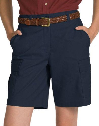 (Edwards Women's Casual Chino Flat Front Cargo Short, Navy, 12)