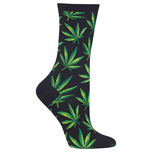 Hot Sox Women's Conversation Starter Novelty Casual Crew Socks, Cannabis (black), Shoe Size: 4-10