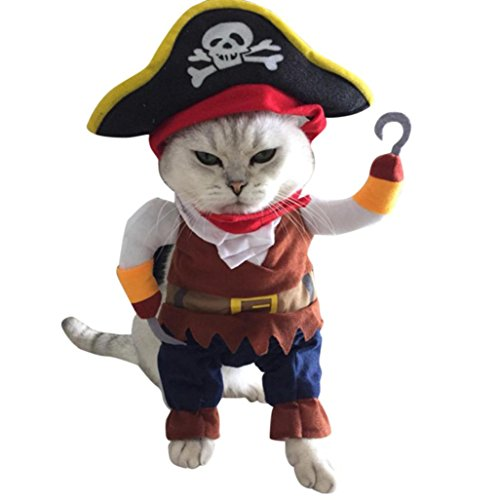 Kimanli Pet Clothing Halloween Pirate Cool Cute Dog Cat Cosplay Costume Clothes (S, Brown)