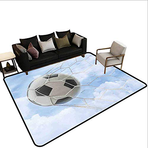 Children's Toy Carpet Sports Decor,Soccer Ball in Goal with Cloudy Sky Summertime Outdoor Activities Sporting ()