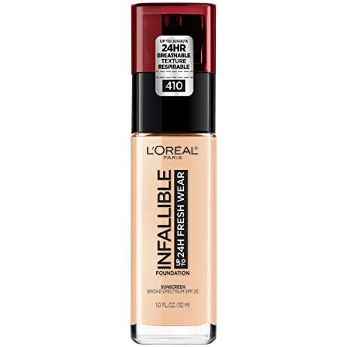 (L'Oréal Paris Makeup Infallible up to 24HR Fresh Wear Liquid Longwear Foundation, Lightweight, Breathable, Natural Matte Finish, Medium-Full Coverage, Sweat & Transfer Resistant, Ivory, 1 fl. oz. )