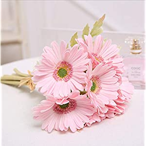"Meide Group USA 20"" Tall Real Touch Latex Gerbera Daisy Artificial Flowers for Home Decor, Weddings. Improved Version (5 pcs) 3"