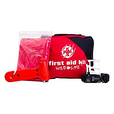 5-in-1 Vehicle First Aid Kit with Emergency Vehicle Escape Tool and BONUS Survival Items: Paracord Fire Starter Bracelet, Multi Tool, and Rain Poncho by Wild Life