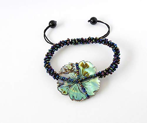Colourful Glass Beads - Abalone Shell Flower Bracelet with Colourful Glass Seed Beads