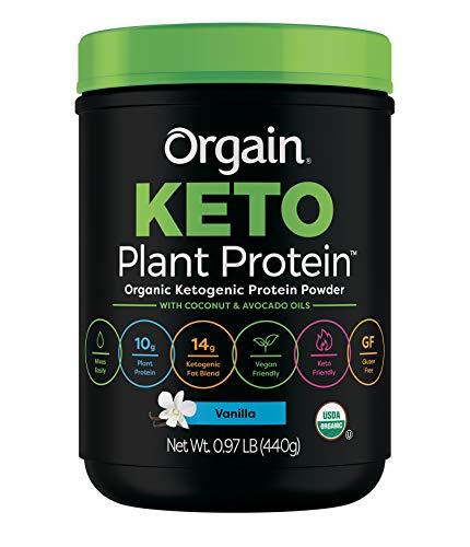 Orgain Keto Plant-Based Protein Powder, Vanilla – Keto Friendly, Organic, Vegan, Gluten Free, Organic Prebiotic Fiber, 0.97 Pound