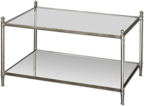 Uttermost Gannon Mirrored Glass Coffee Table, Antiqued Silver