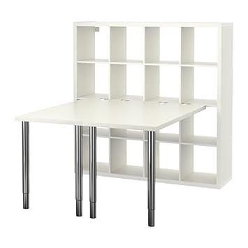 IKEA KALLAX - combinación de escritorio, blanco - 147 x 147 cm ...