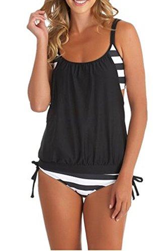 Tankini swimsuits for women swimwear top Strips Bikini Large