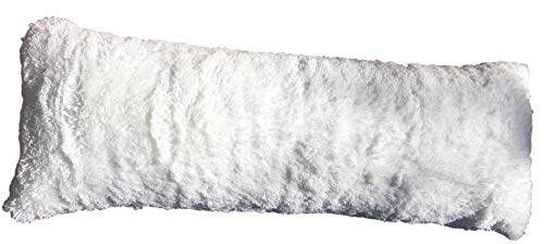 Luxurious Faux Fur Body Pillow Cover with Long Hair, Removable with Sturdy Zipper Closure, Ultra Soft For More Comfort and Fits up To 20 X 54 in Body Pillow (Choice of Colors) (White) Denver Broncos Body Pillow