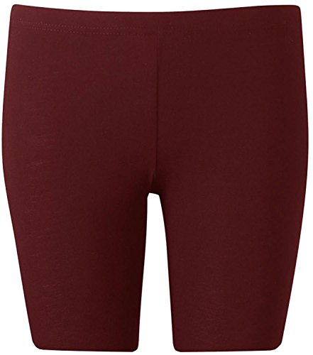 New Womens Plus Size Over Knee Plain Jersey Cycling Shorts ( Wine , XL )