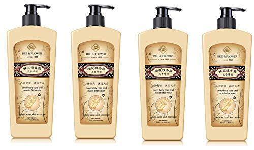 Flower Sandalwood Soap - Bee & Flower Liquid Sandalwood Body Soap, Extra Large 17 fl oz x 4 bottles Value Pack of 68 ounces total