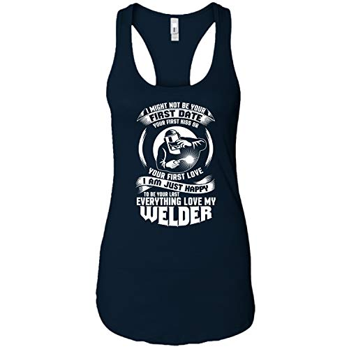 My Welder Ideal Racerback Tank Top, Your First Kiss T Shirt - Ideal Racerback Tank (L, Navy)