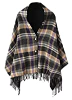 Women's Vintage Plaid Knitted Tassel Poncho Shawl Cape Button Cardigan