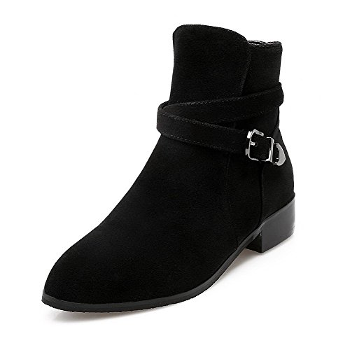AllhqFashion Womens Frosted Buckle Round Closed Toe Low-Heels Low-Top Boots Black 9zD6jgNa7