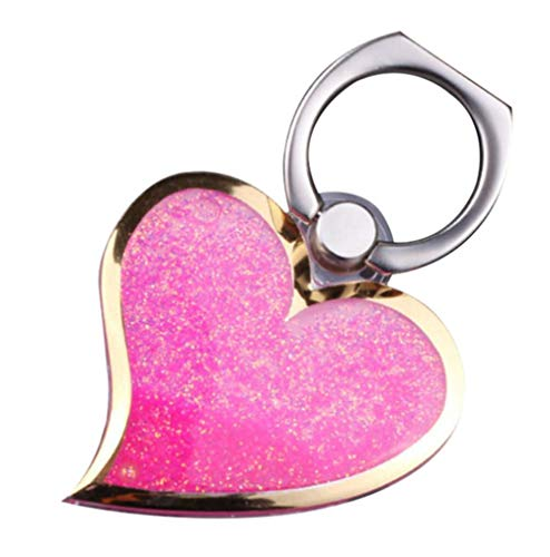 (Pink Flowing Liquid Sand Heart Shaped Ring Stand, OMORRO Newest Charming Phone Back Stand Holder for iPhone 6/7 Plus/7Pro Galaxy S7 Edge S6 Edge Plus Note7/5/4/3 J3/J7 LG G5/G4/G3 Sony Z5 OnePlus3)