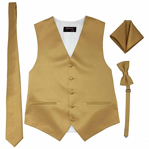 Spencer J's Men's Formal Tuxedo Suit Vest Tie Bowtie and Pocket Square 4 Piece Set Variety of Colors (L (Coat Size 42-45), Gold)