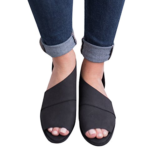 Casual Flats Slip Cut Boot Black Ankle Heel On Dressy Low Open Out Toe Loafer Womens FISACE CxqtfS