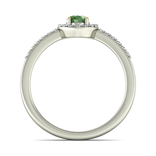 18K Or Blanc, 0.25CT TW Diamant Blanc (IJ   SI) Tsavorite et diamants Bague