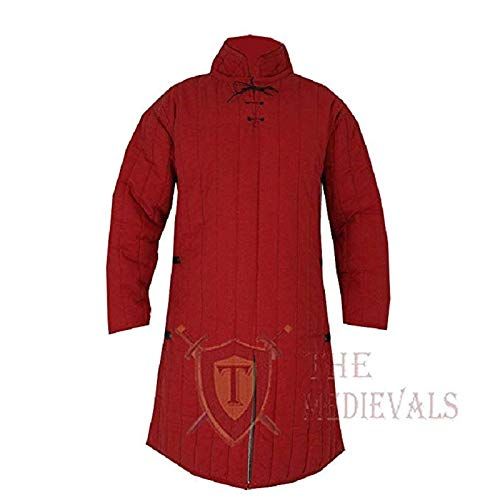 Medieval Thick Padded Full Sleeves Gambeson Coat Aketon Jacket Armor, Red Cotton Fabric - Large