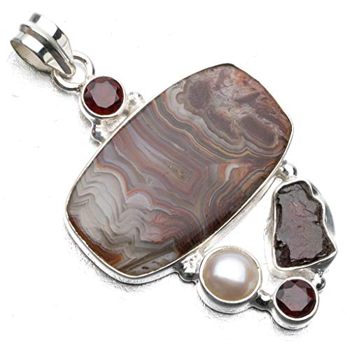 Natural Crazy Lace Agate,River Pearl,Drusy Druzy and Garnet 925 Sterling Silver Pendant 2