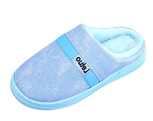 Bleu Ciel Peluche De Unisexe Slippers Sk Chaussons Pantoufles Chaud Studio Antidérapants Hiver Maison Chaussures wFqBC7O