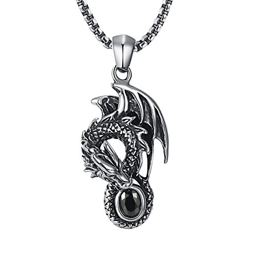 2ndLink Cool Mens Black Gemstone Flying Dragon CZ Crystal Titanium Pendant Necklace,22.5