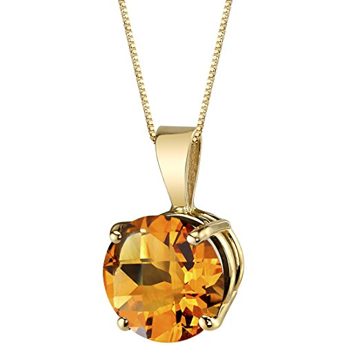 14 Karat Yellow Gold Round Cut 1.75 Carats Citrine Pendant