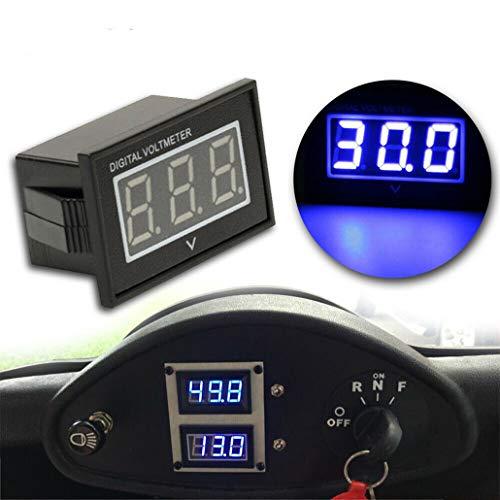 RenDian 48V LED Digital Volt Meter Battery Gauge for Golf Cart Club Car EZGO Yamaha (Blue)