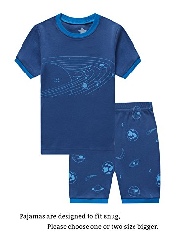 Choco Moon Little Boys Space Snug-Fit Pajamas Short Sets 100% Cotton Blue Pjs Clothes Summer Kid - 100% Cotton Set