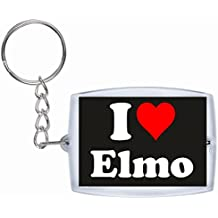 "Exclusive Gift Idea: Keyring ""I Love Elmo"" in Black, a Great gift that comes from the Heart - Backpack pendant - love pendant - Keychains- Keyring- Christmas Gift"