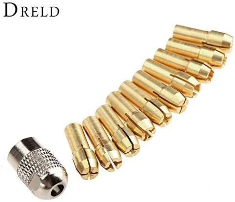 10Pcs 0.5mm-3.2mm Brass Collet Mini Drill Chucks 4.8mm Shank Rotary Tools+Mill Shaft Screw Cap Power Tool Accessories