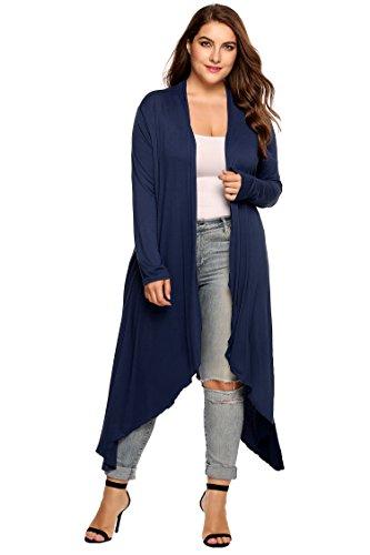 Zeagoo Women's Plus Size Cardigan Long Sleeve Duster Open Front Drape Cardigans Lightweight Sweater