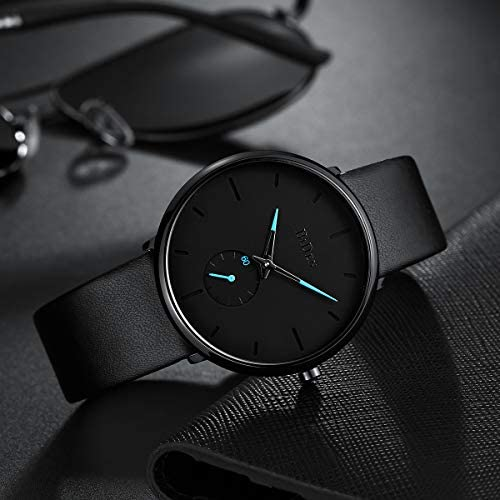Mens Watches Minimalist Ultra Thin Waterproof Fashion Dressy Wrist Watch for Men Business Casual Luxury Quartz Analog Watch