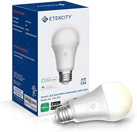Etekcity Smart Bulb, Smart Light Bulb that Works with Alexa, Google Home and IFTTT, A19 E26, Soft White Dimmable LED Bulb, 9W 60W Equivalent , 806LM, 2700K, No Hub Required, 1 Pack
