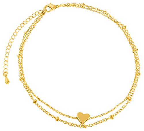 18K Gold or Silver Plated Anklets for Women or Teen Girls - Beach Ankle Bracelets in Cute Boho Dainty Beaded or Swarovski Crystal Rhodium Foot Jewelry Anklet Chains (heart double ankle chain)
