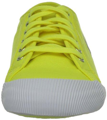 Le Coq Sportif DEAUVILLE FLUO Gelb Canvas Damen Mode Sneakers Schuhe Neu