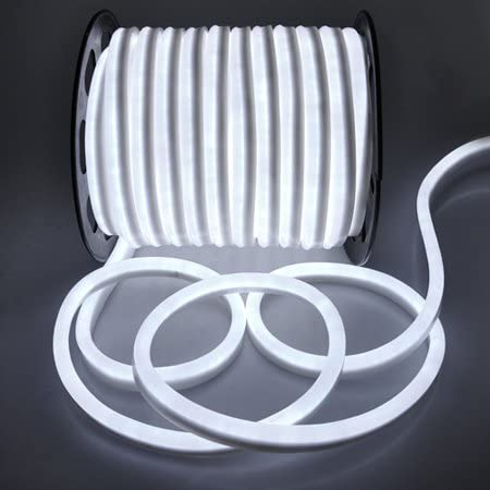 B00BK473N2 Flexible Cool White Illuminated LED Neon Rope Tube Light 150-foot 3600 Bulbs w/ Power Cord Connectors Holiday Home Bar Commercial Decorative Outdoor Lighting 41fE4VdA0HL.