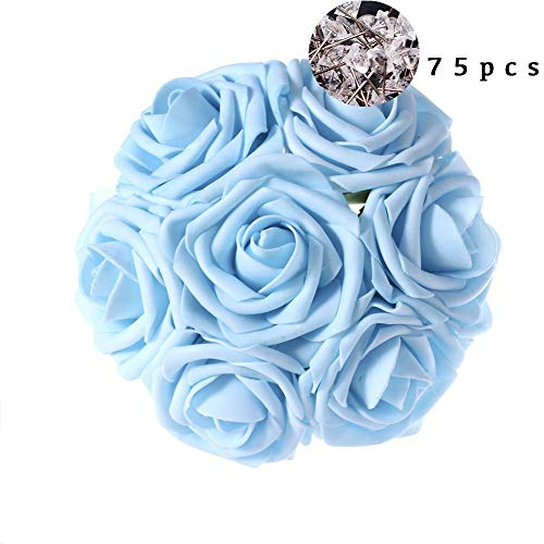 Light Blue Roses - Carreking Artificial Flowers Roses 75pcs Real Looking Cream Fake Roses DIY Wedding Bouquets Shower Party Home Decorations Arrangements Party Home Decorations (Light Blue+Diamond)