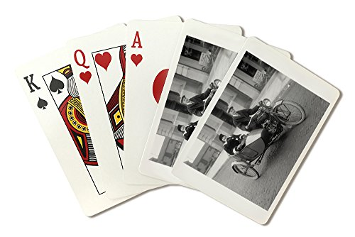 Harley Davidson Motorcycle - Vintage Photograph (Playing Card Deck - 52 Card Poker Size with Jokers) ()