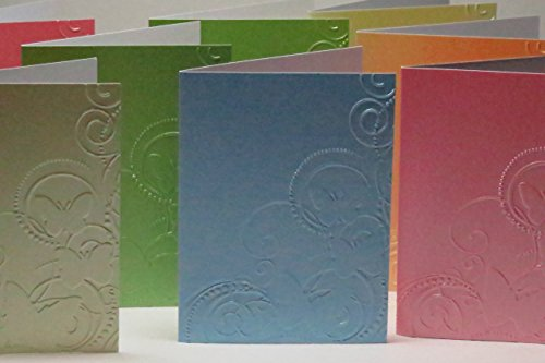 Handmade Butterflies & Swirls Embossed Note Cards in Asstd Pastel Pearl Colours, 300gsm English Cardstock, Set of 10 Cards & White Envelopes - more colours